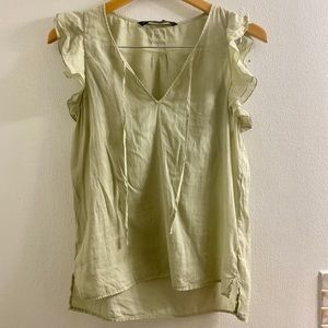 Zara Basic Light Green Ruffle Sleeve Blouse